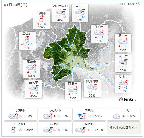 群馬県天気予報
